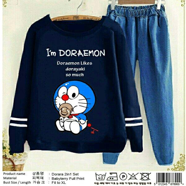 setelan kaos dan celana kulot panjang Doraemon