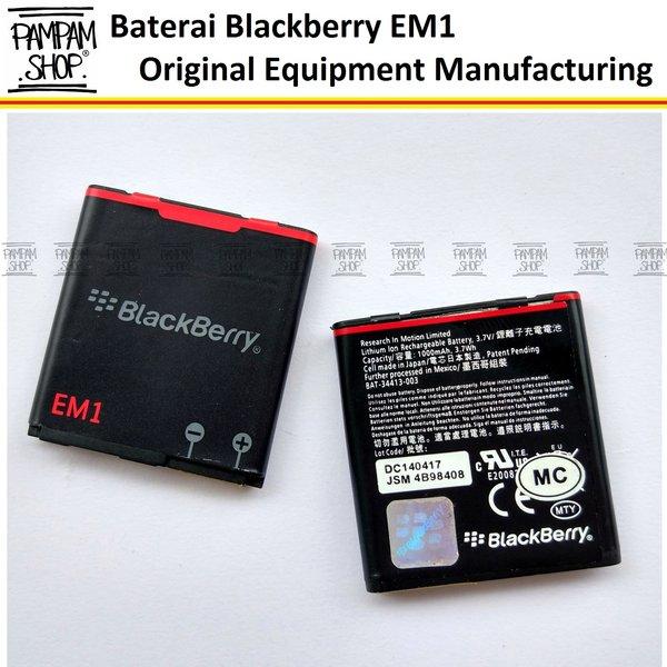 Baterai Blackberry EM1 Apollo 9360 ORI ( Batrai, Batre, Battery, Original, EM 1, E M1, BB, Black Berry, OEM, Apolo, Curve, Bold, Appolo)