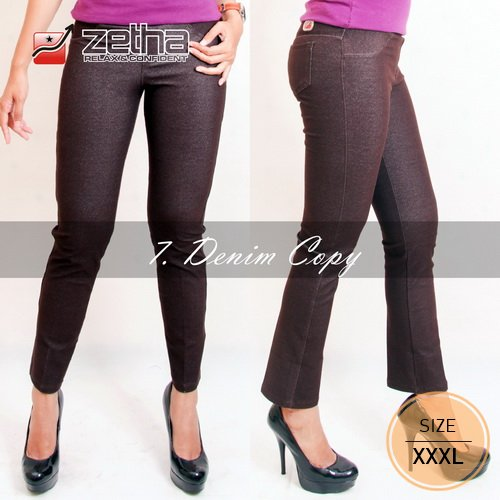 Celana Zetha Big Size 3L - XXXL - 3XL Denim Kopi Original