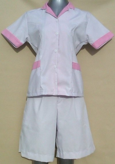 Baju Suster / Seragam Baby Sitter Celana Kulot Putih Variasi Pink Kotak-Kotak