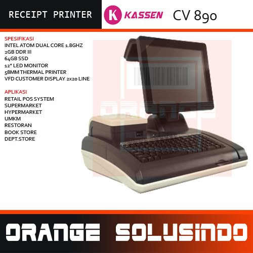 KASSEN CV890 - KOMPUTER KASIR PREMIUM - KASSEN CV 890 - ALL IN ONE PC POS SYSTEM