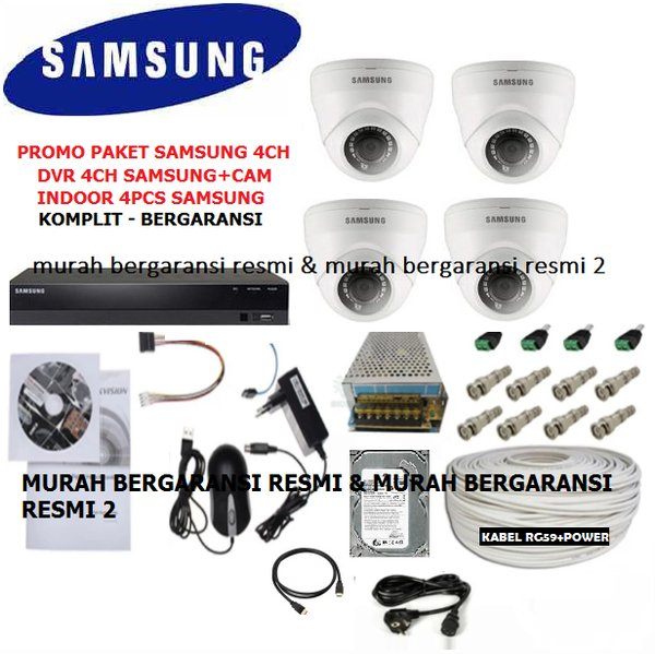 PAKET CCTV 4CHANNEL SAMSUNG AHD FULL HD 2MP 1080P KOMPLIT LENGKAP SIAP PASANG