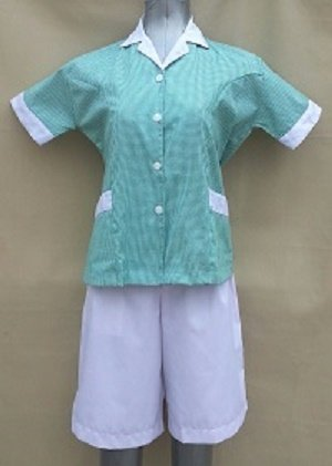 Baju Suster / Seragam Baby Sitter Celana Kulot Putih Baju Hijau Kotak-Kotak Variasi Putih