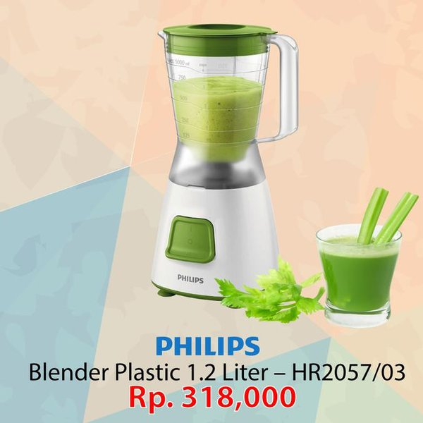 best sale Philips Blender Plastic 1.2 Liter 280 Watt Green HR2057