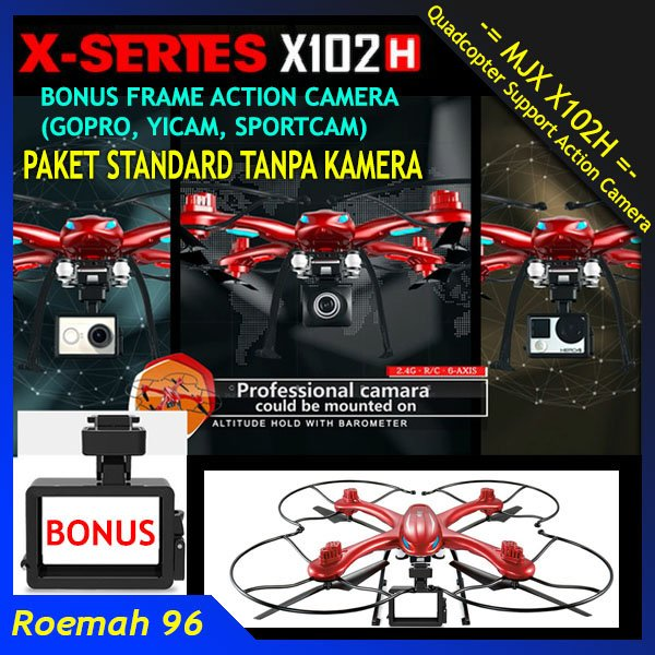 Drone MJX X102H Support Angkat Action Kamera Hold Altitude | Quadcopter Camera GoPro Xiaomi Yi Sportscam | Syma X8HC X8HW X8HG Killer