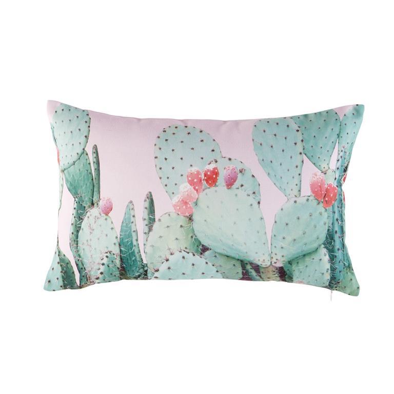 Coussin D Exterieur Rose Imprime Cactus 30x50 Maisons Du Monde