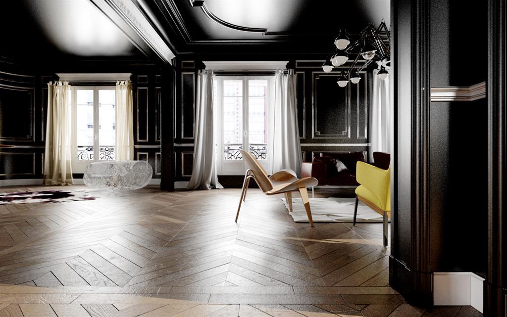 Murs Et Plafond Peints En Noir Dans Ce Salon Pour Un