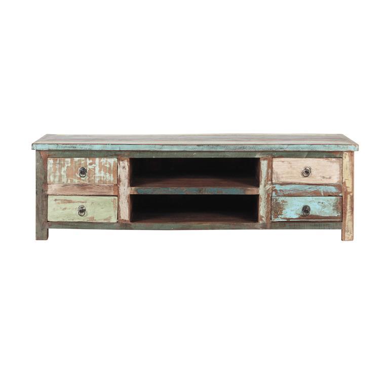 meuble tv en bois recycle effet vieilli