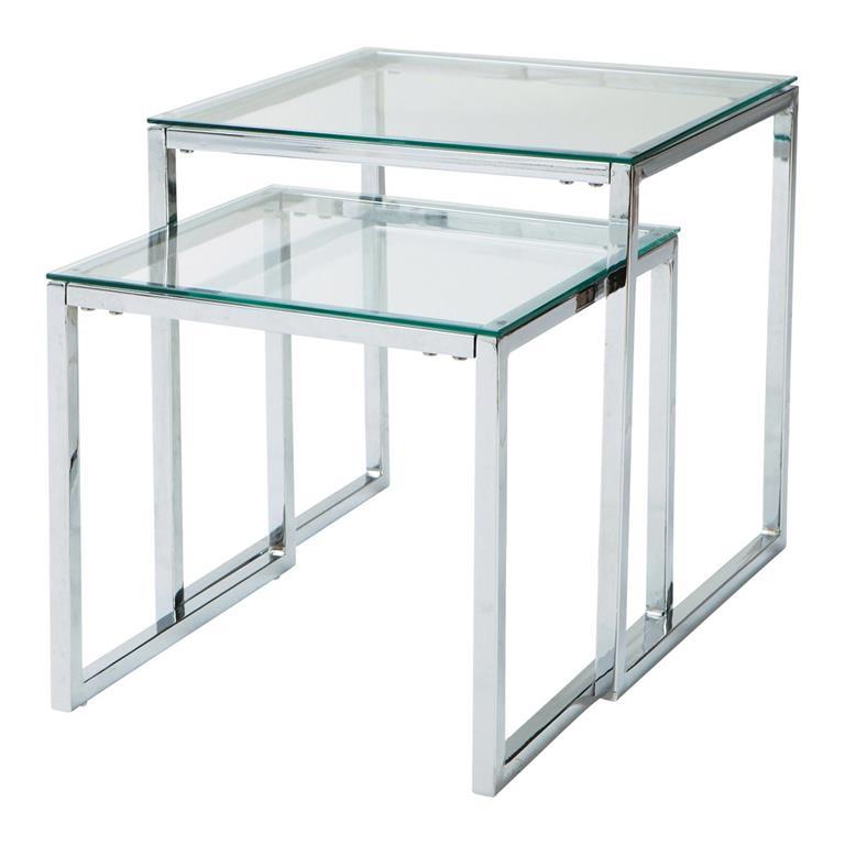 tables gigognes en verre et metal