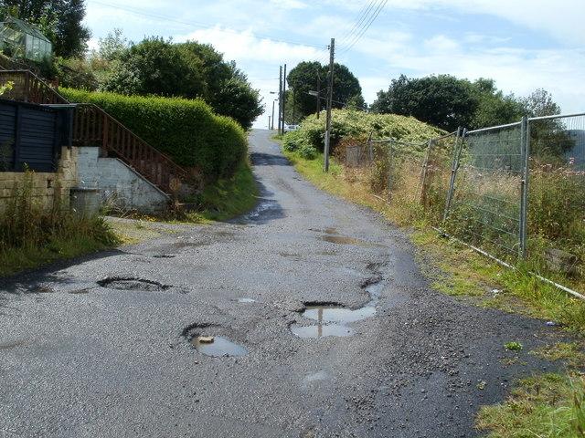 Potholes in Heol y graig, Cwmgwrach