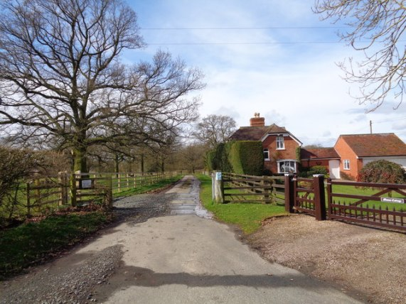 Elmbridge Green Cottages and gated road © Jeff Gogarty :: Geograph