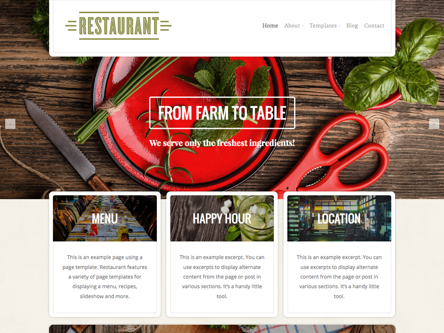 restaurant theme wordpress com