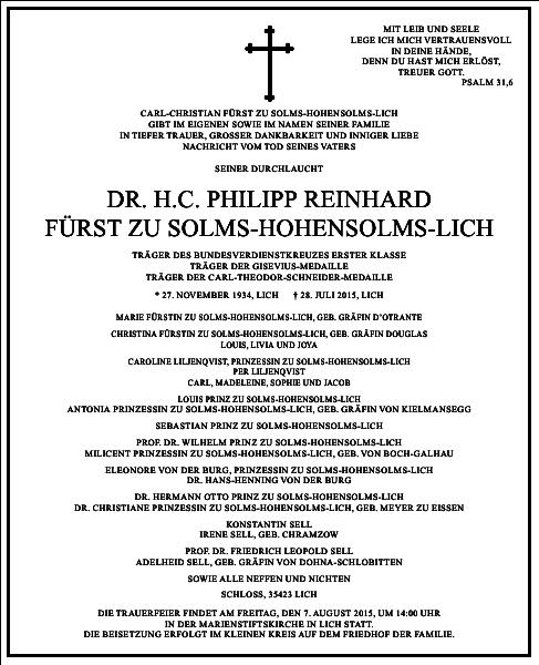 P.R. zu Solms-Hohensolms-Lich