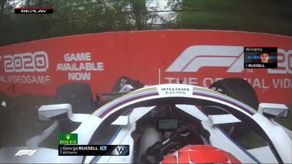 George Russell estava na zona de pontuação, mas deixa a prova com Safety Car na pista