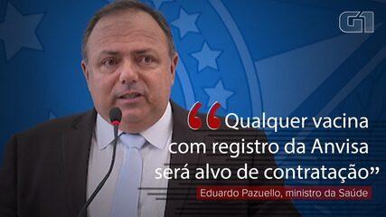 VÍDEO: Qualquer vacina com registro na Anvisa 'será alvo de contratação', diz Pazuello