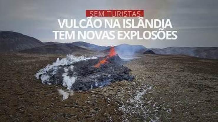 Vulcão na Islândia tem novas explosões de lava
