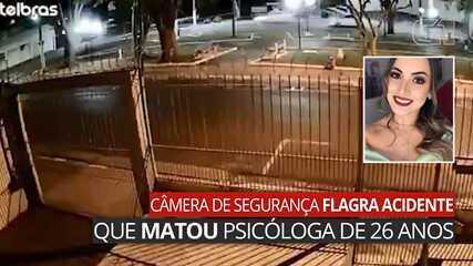 Câmera de segurança flagra acidente que matou psicóloga de 26 anos em Assis
