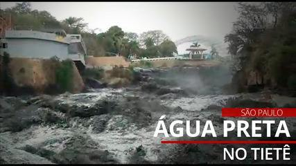 Residents of Salto register black water in the Tietê river this Sunday