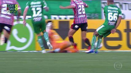 At 36 min of the 2nd half - penalty by Marcelo Carné, from Juventude, in Igor Gomes, from São Paulo