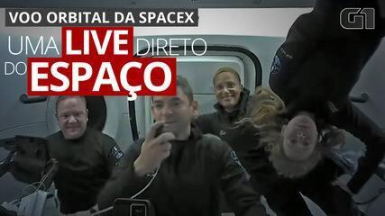 Tripulantes de voo orbital da SpaceX fazem live direto do espaço