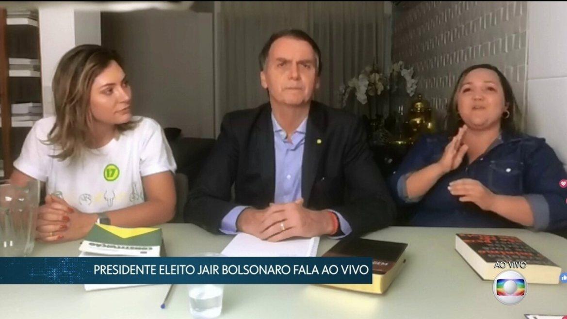 Presidente eleito Jair Bolsonaro faz seu primeiro pronunciamento após resultado