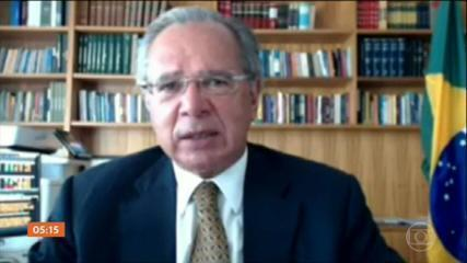 Paulo Guedes defende que o pior da pandemia passou e que a economia dá sinais de recuperação