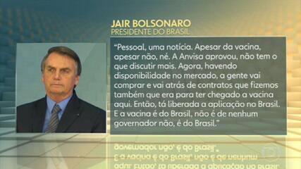 Após afirmar que não compraria a CoronaVac, Bolsonaro diz que a vacina 'é do Brasil, não é de nenhum governador'
