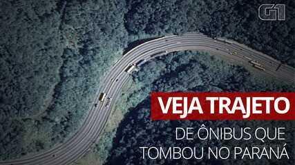 Veja trajeto do ônibus que tombou em Guaratuba, Paraná