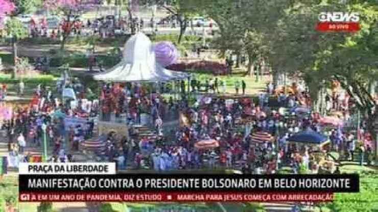 Manifestantes fazem atos contra Bolsonaro e a favor da vacina em Belo Horizonte