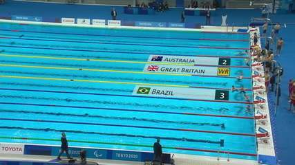 Great Britain sets a world record and takes gold in the 4x100m relay and Brazil takes the bronze medal