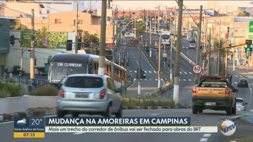 Av. Amoreiras em Campinas, terá trecho do corredor de ônibus bloqueado para obras do BRT