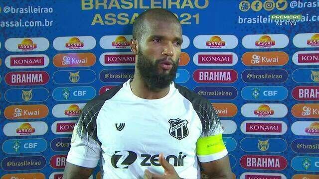 """Messias, do Ceará, destaca a partida do time: """"A equipe se empenhou demais, tivemos oportunidades"""""""