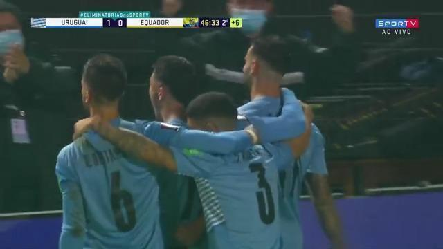 O gol de Uruguai 1 x 0 Equador pela 10ª rodada das Eliminatórias da Copa