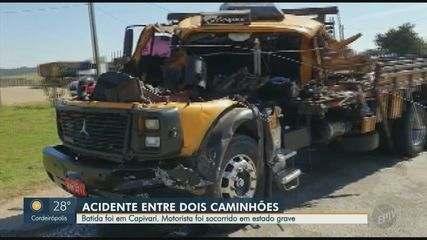 Colisão entre dois caminhões, em Capivari, deixa motorista em estado grave