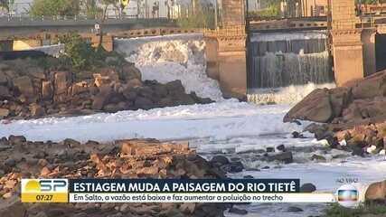 Estiagem muda paisagem do Rio Tietê em Salto