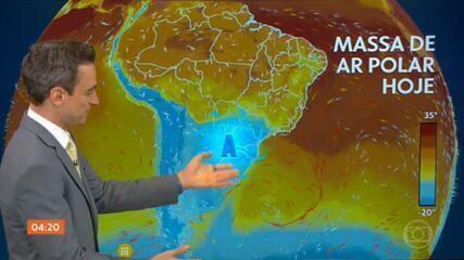 Massa de ar polar forte chega ao Centro-Sul e faz as temperaturas caírem