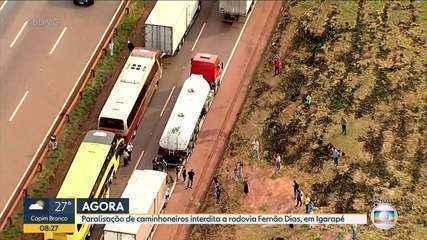 Motoristas bloquearam os dois sentidos da rodovia, na altura de Igarapé
