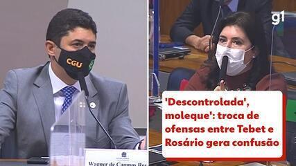 'Descontrolada', 'moleque': troca de ofensas entre Tebet e Rosário gera confusão na CPI