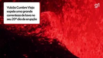 La Palma Volcano spews a lava stream on its 20th day of eruption