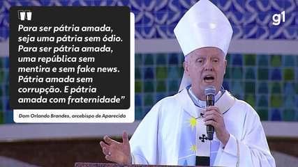 Para ser pátria amada não pode ser pátria armada', diz arcebispo de  Aparecida em sermão do Dia de Nossa Senhora | Festa da Padroeira 2021 | G1