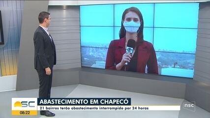 Chapecó tem 21 bairros que terão abastecimento interrompido por 24 horas