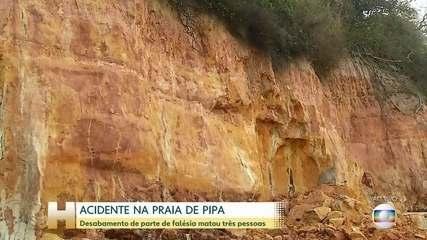 Desabamento de falésia deixa três mortos na Praia de Pipa