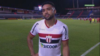 Entrevista pós-jogo do atacante Cássio Ortega, do Botafogo-SP