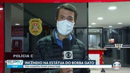 Justiça determina prisão de suspeito de incendiar estátua do Borba Gato