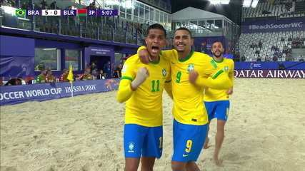The goals of Brazil 5 x 0 Belarus for the Beach Soccer World Cup