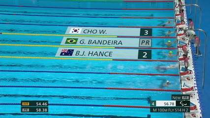 Gabriel Bandeira is 1st in the qualifiers for the 100m butterfly S14, he scores 56.78 and breaks the Paralympic record - Tokyo 2020 Paralympics