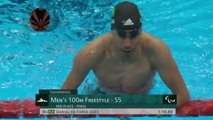 Daniel Dias takes bronze in the men's 100m freestyle S5 - Tokyo Paralympics