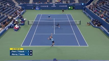 Peers make a double foul and Murray/Soares win the first set by 6/3