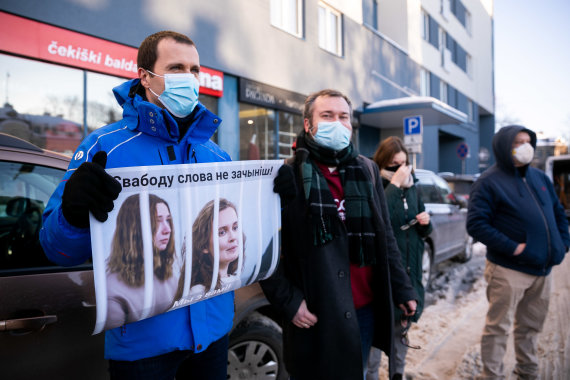 Photo by Sigismund Gedvila / 15min photo / Lithuanian journalists' action in support of journalists detained in Belarus