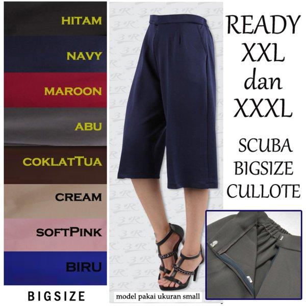 Sale Celana Kulot Pendek XXL XXXL Wanita Bigsize Jumbo Scuba 3R Cullote Baju Atasan Wanita Jumbo Big Size